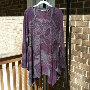 Soft Surroundings Purple/Gray Flower Print Tunic L